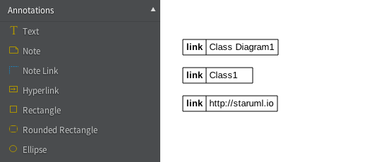 Hyperlinks to Diagram, Element and URL